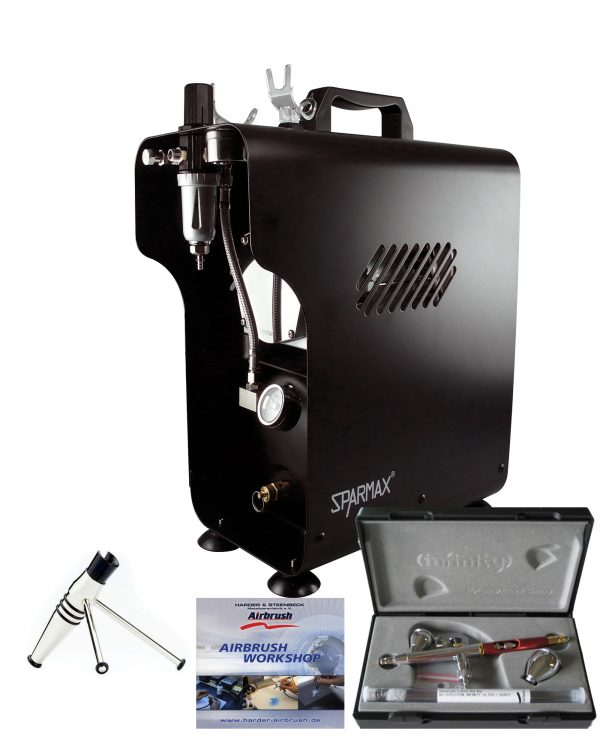 Professional Automotive Airbrushing Kit With Infinity CRplus 2 in 1 and Sparmax Compressor-0