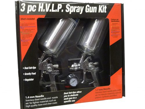 Two HVLP Gravity Spray Gun Kit with Regulator - 1.4mm and 1.7mm Fluid Tip-0
