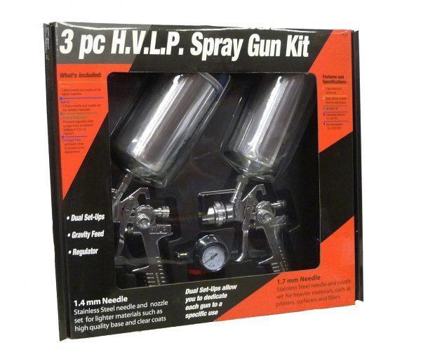 Two HVLP Gravity Spray Gun Kit with Regulator - 1.4mm and 1.7mm Fluid Tip-0