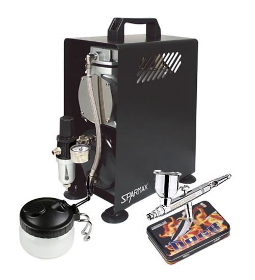 Professional Automotive Airbrushing Kit With DeVilbiss DAGR Airbrush and Sparmax 610H Compressor